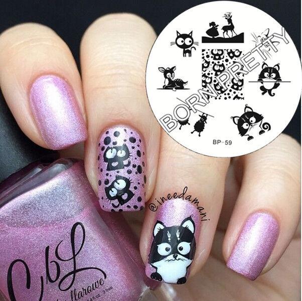 Bp59 Nail Art Stamping Image Plate Stencil Cat Deer Sheep Design ...