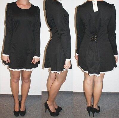 NEU! edles Kleid mit Schnürung Corsage Spitzenborte, sexy Maid Japan, XS S 34 36