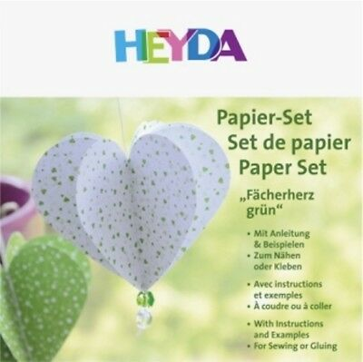 HEYDA Fächerherz-Papierset grün, 20-48 756 81