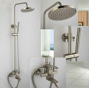 Brushed Nickel Rainfall Shower Faucet System Wall Mounted 8""