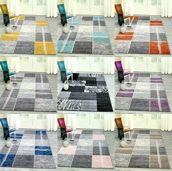 Modern Teal Blue Grey Patchwork Rug