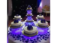 Stunning look,Real Glass crystal chandelier style Cake stands with lights