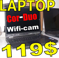 vente d'urgence laptops c2duo win7  prices  100 to 145 $