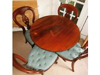 Antique Victorian mahogany set of 4 chairs and round table