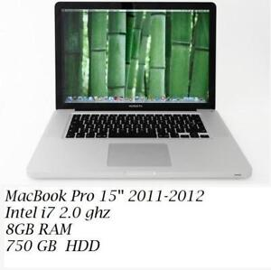 MACBOOK PRO 15  i7 quad 2.0 GHZ 8GB 750GB , 2 VIDEO CARDS,DVD +OFFICE PRO 2016, FINAL CUT PRO X, LOGIC PRO X