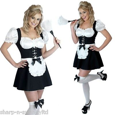 Ladies Sexy French Maid Rocky Horror Fancy Dress Costume Outfit 6 22