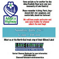 Adopt A HWY 97 Lake Country Roadside Cleanup Event July 26th