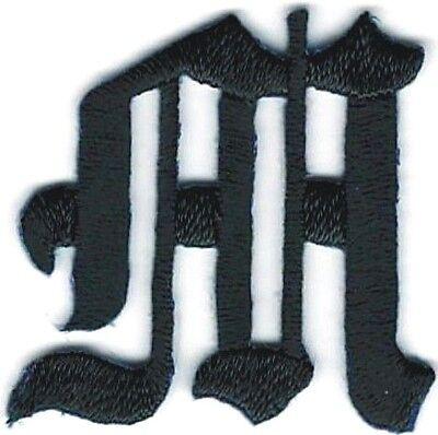 2.9cm Kostüm Schwarz Altenglische Alphabet Buchstabe M Gestickter Aufnäher