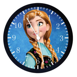 Disney Frozen Anna Black Frame Wall Clock Nice For Decor or Gifts W474