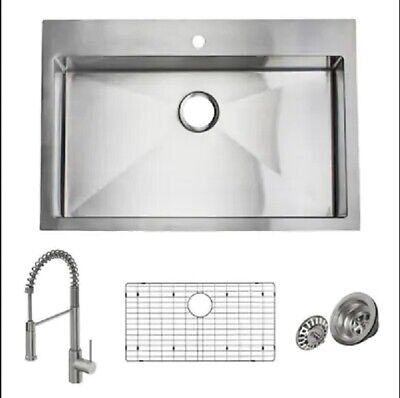 "Giagni Trattoria 33"" x 22"" Stainless Steel All-In-One Kitchen Sink Kit w/ Faucet"