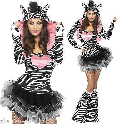 Ladies Sexy Zebra Animal Festival Halloween Fancy Dress Costume Outfit Size 4-18