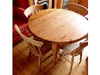 Drop-leaf Solid Wood Table and Chairs