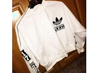 Adidas oversized white jumper with black detail