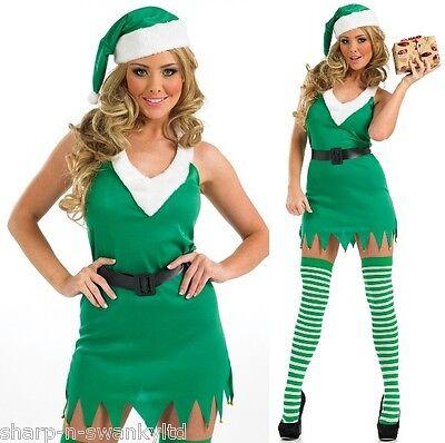 Damen Sexy Weihnachten Santa's Helfer Elfen Kostüm Kleid Outfit + Strümpfe