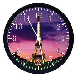 Paris Eiffel Tower Black Frame Wall Clock W109