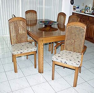 Solid wood Kitchen Table 6 chairs hutch and china cabinet