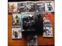 SONY PLAYSTATION PS3 SLIM CONSOLE 160GB & 10 GAMES FIFA CALL OF DUTY BLACK OPS GHOSTS