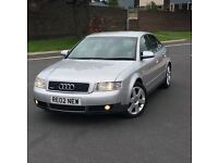 2002 02 AUDI A4 3.0 V6 4 DR SALOON S4 ALLOYS 12 MONTHS MOT PX TO CLEAR