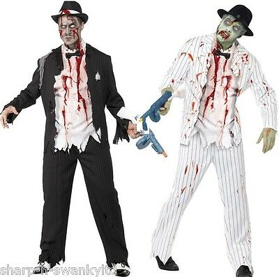 Dead Gangster Halloween Costumes (Mens 1920s Corpse Dead Zombie Gangster Halloween Fancy Dress Costume Outfit)