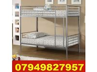 SINGLE METAL Bunk Bed WITH DEEP QUILTED Mattress