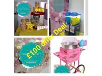 Mascot Hire, Slush Machine, Party Balloons, Sweet Cart, Cakes, Weddings, Chair Covers