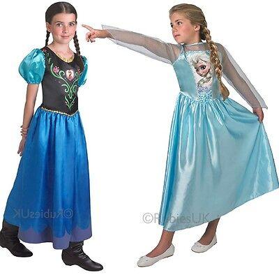 Mädchen Disney Frozen Elsa oder Anna Prinzessin Kostüm Kleid Outfit 3-14 Jahre