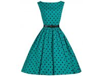 Lindy Bop 'Audrey' Turquoise Polka Dot Vintage 1950's Inspired Swing/Jive Dress.