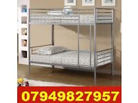 New SINGLE METAL Bunk Bed WITH DEEP QUILTED Mattress