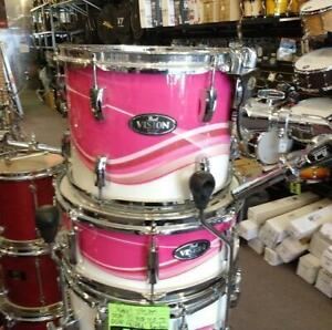 Pearl Vision 12-14ft-16ft-22-s14x5.5 Birch Pink Swirl shell kit drum-batterie acoustique usagée-used