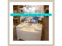 Vintage, shabby chic painted & decoupaged dressing table REDUCED