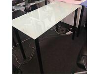 14 x white and blue glass desks 100cm x 55cm. Delivery.