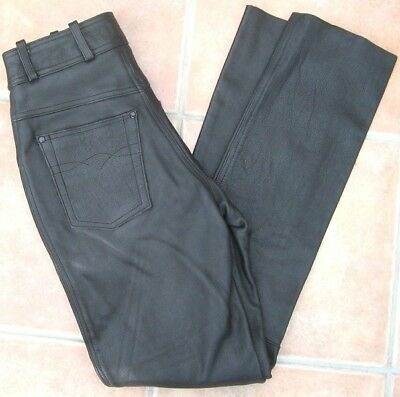 5 Pocket Lederjeans Disco-Jeans schwarz mit Knopf Freizeithose Lederhose Jeans ()