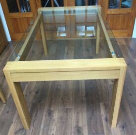Oak and glass topped dining table