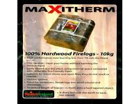 Maxitherm compressed hardwood logs, Kiln dried firewood and odourless fire lighters starters
