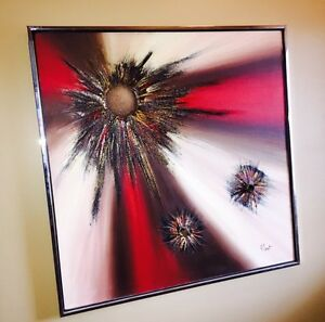 Beautiful R Parret Mid Century Modern Abstract Painting 1970's