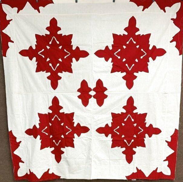 Hearts! c 1900s ALBUM Applique Quilt Top Vintage Turkey Red