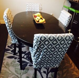 Six Parson dining chairs with covers