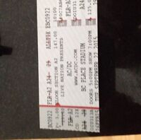 Acdc 4 FLOOR seats together for Vancouver Sept 22/15