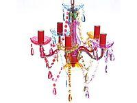 5 arm multi coloured chandelier