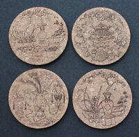 Oriental design laser engraved cork coasters - set of 4