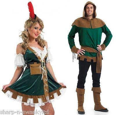 Paar Erwachsene Herren & Damen Robin Hood Kostüm Mittelalter Verkleidung Outfit