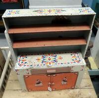 Vintage Tin Litho Toy Kitchen Cupboard - BLUE JAR Antique Mall