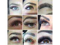 Eyelash extensions, shellac nails, eyebrow/eyelash tinting