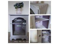 Grey Vintage TV Stand Display Cabinet Drinks Hi Fi Shabby Chic