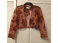 Maroon+ Gold Embroidery Net/ Transparent Over Dress Ladies Jacket/ Shrug/ Occasion/Party Wear-New