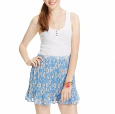 New American Rag Skirt Large Printed Blue Daisy Pleated