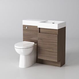 Modern Bathroom Walnut Vanity Unit Countertop Basin + Back To Wall Toilet brand new