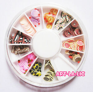 120-pcs-3D-Nail-Art-FIMO-Slice-BIRTHDAY-CAKE-CUPCAKE-CANDY-Face-Decoration-Wheel