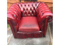 Original vintage leather Chesterfield club chair scroll back oxblood genuine vintage antique leather
