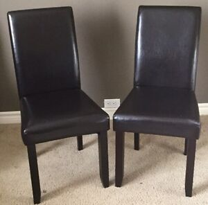 2 dark brown leather chairs London Ontario image 1